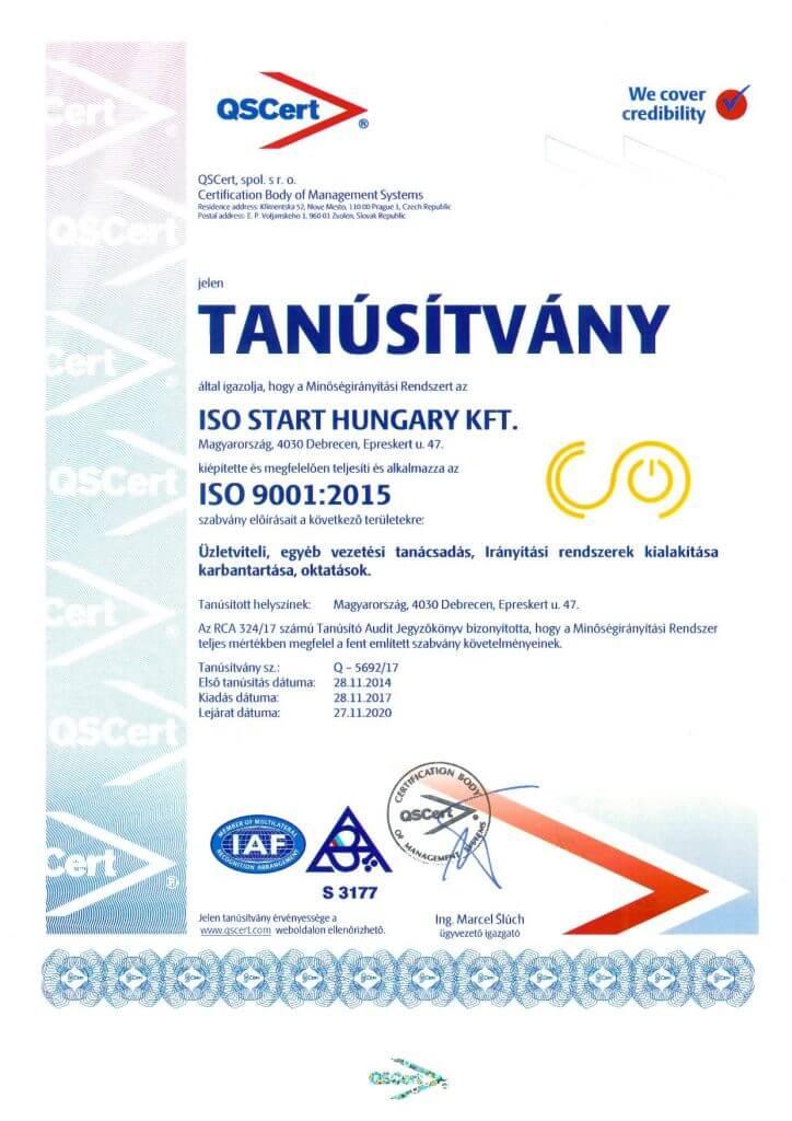 ISO felkészítés - tanusítvány ISO START KFT